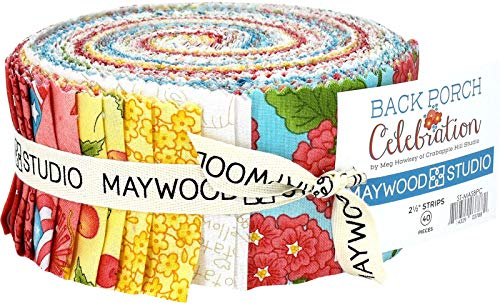 Back Porch Celebration 40 2.5-inch Strips Jelly Roll by Meg Hawkey for Maywood -