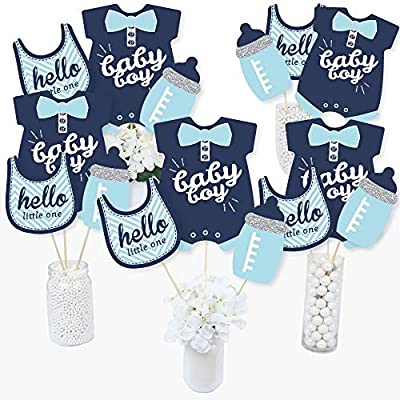 Hello Little One - Blue and Silver - Boy Baby Shower Party Centerpiece Sticks - Table Toppers - Set of 15: Toys & Games