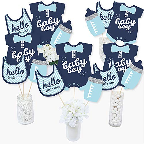 Baby Boy Centerpieces (Hello Little One - Blue and Silver - Boy Baby Shower Party Centerpiece Sticks - Table Toppers - Set of)