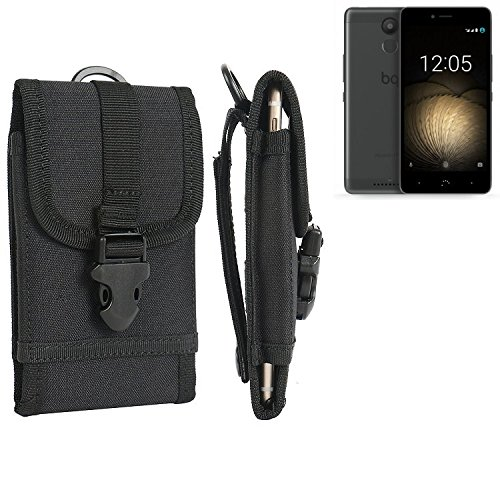 bolsa del cinturón / funda para BQ Aquaris U Plus, negro | caja del teléfono cubierta protectora bolso - K-S-Trade (TM)