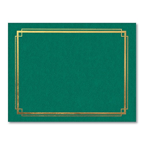 (PaperDirect Gold Foil Border Green Certificate Jackets, 9-½ x 12 Inch Folded, Holds 8-½ x 11 Inch Certificates, 10 Count)