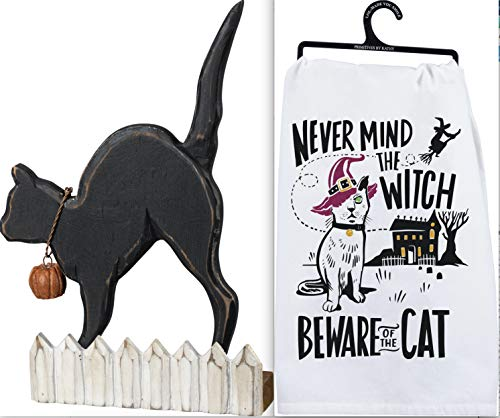 Primitives by Kathy Halloween Bundle 2 Items - Black Cat on a Fence Chunky Sitter - Never Mind The Witch Beware of The Cat Dish Towel ()