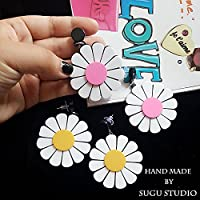 Custom sun flower earrings Ja and South Korea exaggerated personality fashion color small daisy earrings ear hook without pierced ear clip