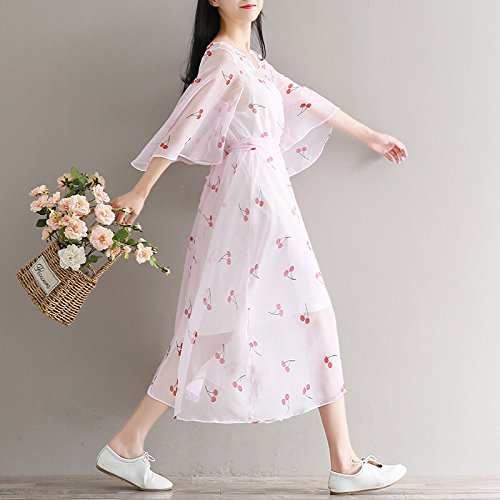 Chiffon White Primavera Dos Vestido Florales El De Vestido Encaje ZHUDJ cherry Verano Vestido De Y Piezas blossoms Cc0q6xc1wU