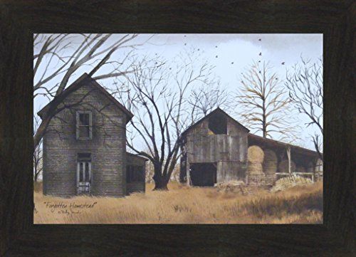 Forgotten Homestead by Billy Jacobs 16x22 Old Weathered House Barn Farm Primitive Folk Art Print Framed Picture (2