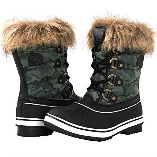GLOBALWIN Women's 1838 Black/Green Camouflage Winter Snow Boots 6.5M