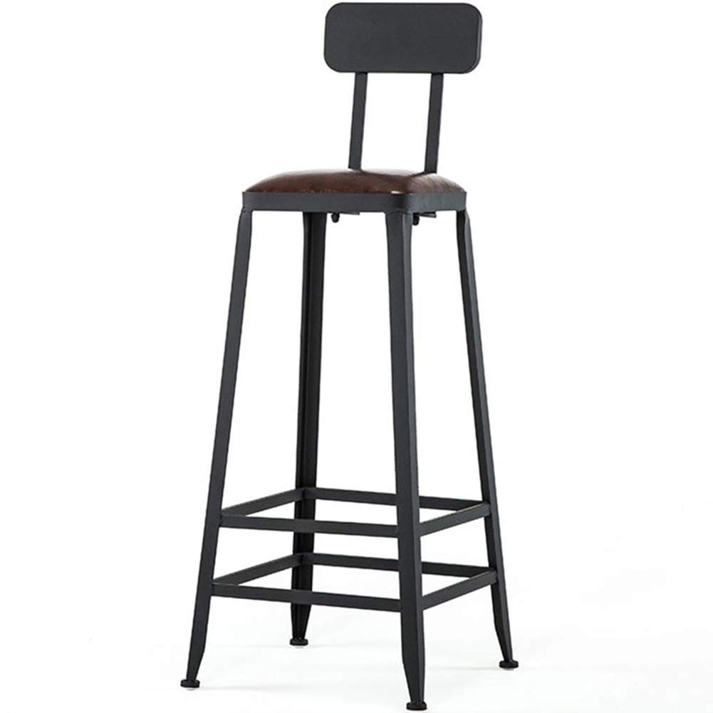 80 cm Imitation Leather Bistro Stool with backrest, Solid Wood Legs, Non-Slip Rubber, Black (Size   80 cm)