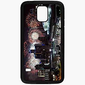 Unique Design Fashion Protective Back Cover For Samsung Galaxy S5 Case Detroit Skyscrapers Night Lights Fireworks Black