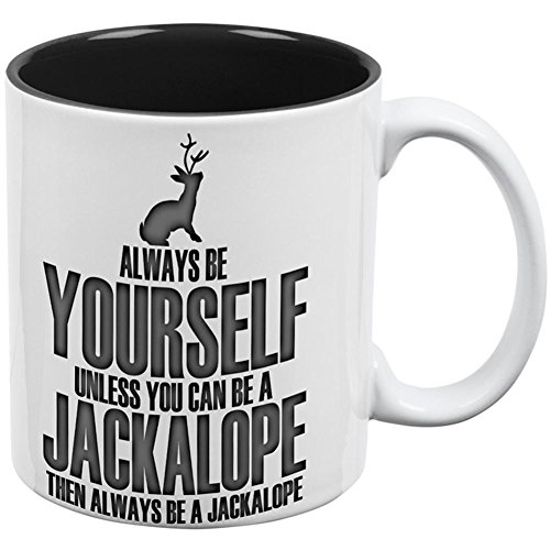 Always Be Yourself Jackalope All Over Coffee Mug White-Black for sale  Delivered anywhere in USA