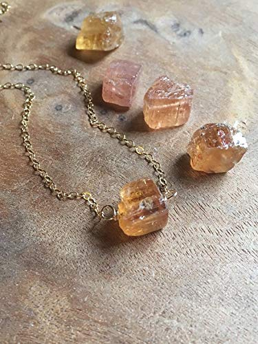 Rough Topaz Gemstone Necklace on Gold or Sterling Silver November Birthstone Jewelry Gift For Women