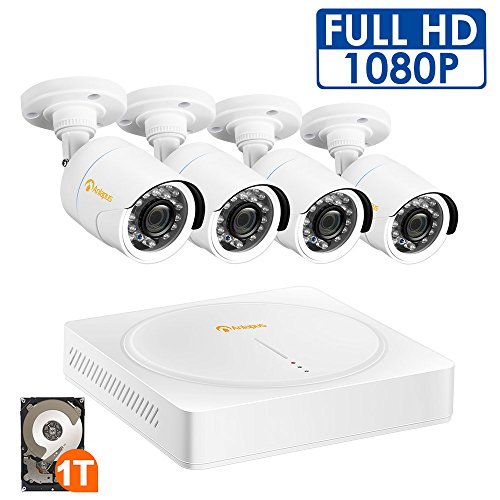 Anlapus Home Security System 8 Channel 1080P video Surveillance DVR with 1TB HDD and (4) 2.0MP 1920TVL Outdoor IP66 Weatherproof CCTV Cameras, Smart playback, with Motion Detection and Night Vision