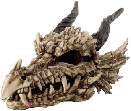 Large 27 Long Dragon Fossil Skull With Horns Mighty Grendel Resin Home Decor Figurine
