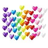 Azude 12'' Rainbow Latex Heart Shaped Party Balloons Decorations, 50 ct