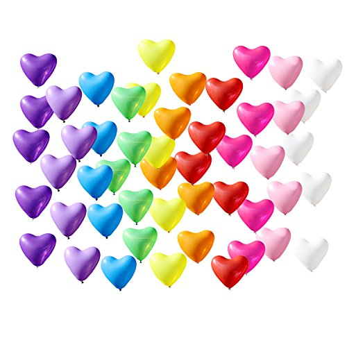 Azude 12'' Rainbow Latex Heart Shaped Party Balloons Decorations, 50 ct by Azude