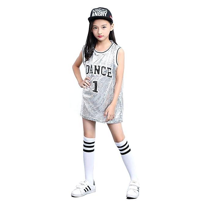 Traje de Lentejuelas para niñas Hip Hop Dancewear Sparkle ...