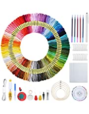 Borduurwerk Starter Kit, STARTOGOO 215 Stks Cross Stitch Tool Kit Inclusief 100 Kleur Draden, 5 Bamboe Borduurhaken 3 Stof Geborduurd met Gereedschap Accessoires voor Cross Stitch Breien LA27