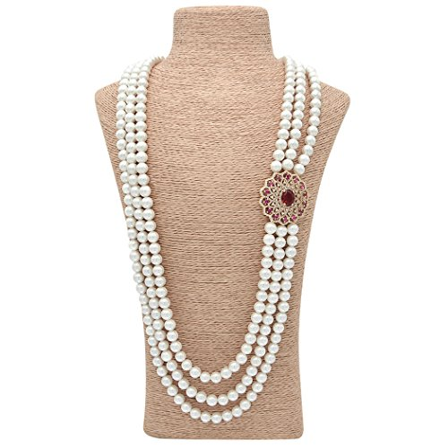 Costumes That Start With G (ART KIM Exotic Grace Gemstone Crystal Pearl Strands Necklaces (Red))