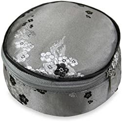 Travel Jewelry Case - Silk Brocade (Cherry Blsm Gray)