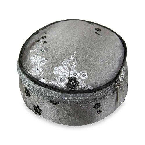Travel Jewelry Case - Silk Brocade (Cherry Blsm Gray) by Red Blossom