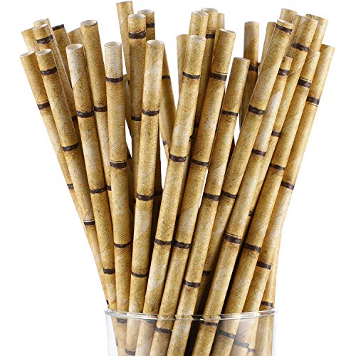 200 Pieces Bamboo Print Paper Straws Biodegradable Drinking Straws Disposable Paper Straws for Drinks Juices Smoothies Party Supplies (Brown)