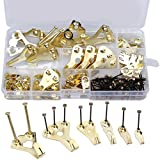 Zhiye 130 Pieces Picture Hangers, Heavy Duty Picture Frame Hanging Hooks Kit with Nails Holds 10-100 lbs for Wall Mounting, Golden