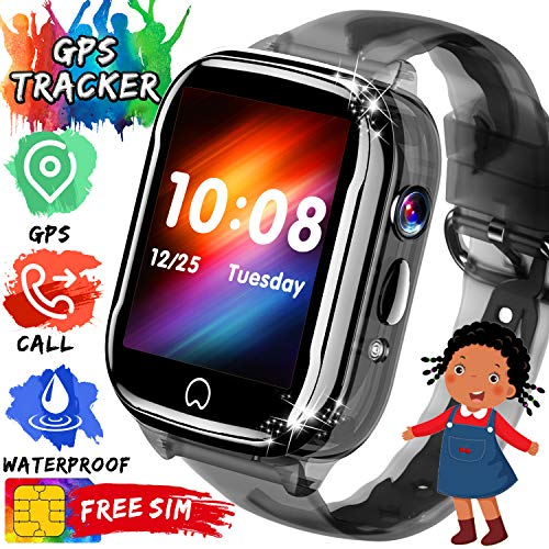 Kids Smart Watch GPS Tracker - [Free SIM Card]2019 New Waterproof Kids Smartwatch Phone for Boys Girls with HD Touch Screen SOS Anti-Lost Camera Game Toys Children Wrist Watch Bracelet Birthday Gifts (Best Phone For Kids)