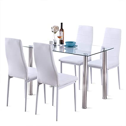 Surprising 5 Pcs Modern Tempered Glass White Dining Room Table Set With 4 High Back Faxu Leather Dinning Chairs Bralicious Painted Fabric Chair Ideas Braliciousco