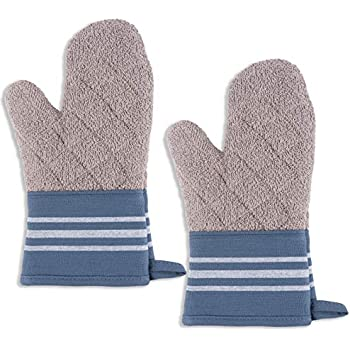 KAF Home Christopher Kimball's Milk Street Kitchen French Stripe Terry Lined Oven Mitt Set of 2 (Bearing Sea)