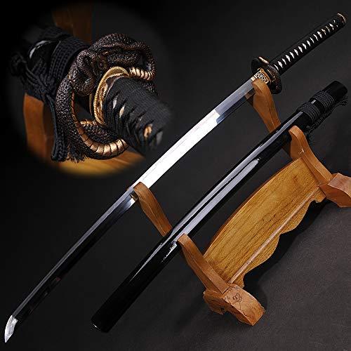 Yongli Sword Handmade Full Tang Japanese Katana Manual Grinding Damascus Folded Steel Real Samurai Sword Sharp Edge Snake Tsuba