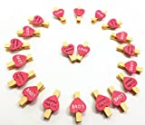 QTMY 20 Pcs Pink Love It's my heart Wooden Clip Photo Holders Frames with Twine