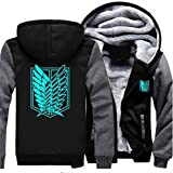 Anime Attack Titan Coat Cosplay Costume Thick Fleece Hoodie Zipper Sweatshirt Jacket (X-Large, Grey)