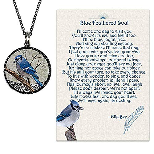 Lola Bella Gifts and Spirit Lala Blue Jay Necklace with Backside Love Never Dies and Blue Feathered Soul Poem Card, Gift Box Grief Sympathy Gift