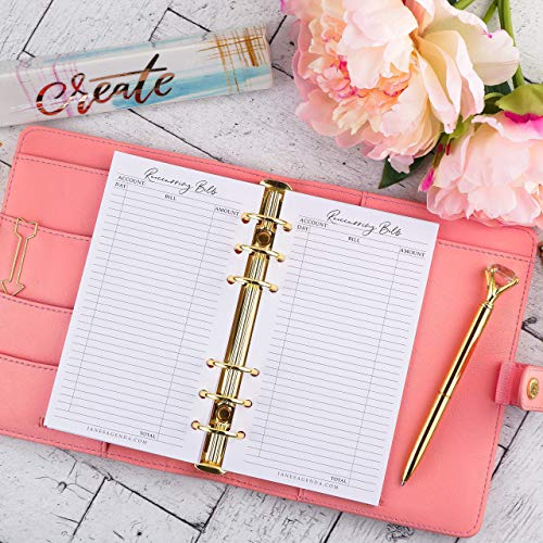 Reoccurring Bills Planner Inserts   Refill for Personal Size Six Ring Planners   3.75x6.75 inches - Jane Stationery