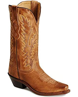 Old West Tan Canyon Womens All Leather 12in Snip Toe Cowboy Western Boots 5 B