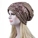 Joycentre Womens Lace Chemo Hats for Cancer Patients, Lace Flowers Fashion Hat (Camel)