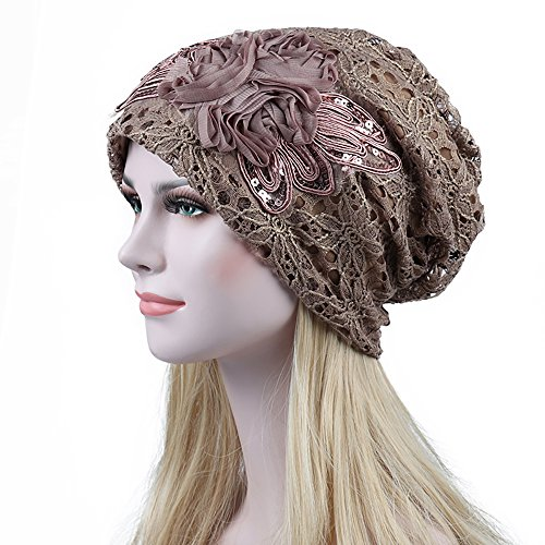 Joycentre Womens Lace Chemo Hats for Cancer Patients, Lace Flowers Fashion Hat (Camel) by Joycentre (Image #3)