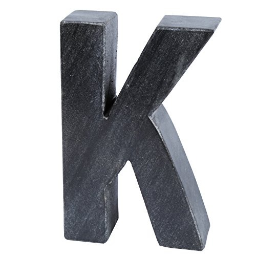 Creative Home Natural Black Stone Marble Letter K, Bookends ()