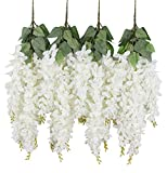 Duovlo Silk Wisteria Flower Artificial 2.13 Feet Hanging Wisteria Vine Fake Flower Bush String Home Party Wedding Decoration,Pack of 4?White?