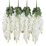 Duovlo-Silk-Wisteria-Flower-Artificial-213-Feet-Hanging-Wisteria-Vine-Fake-Flower-Bush-String-Home-Party-Wedding-DecorationPack-of-4White