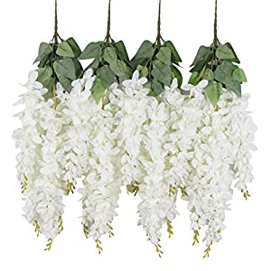 Duovlo Silk Wisteria Flower Artificial 2.13 Feet Hanging Wisteria Vine Fake Flower Bush String Home Party Wedding Decoration,Pack of 4(White) 48