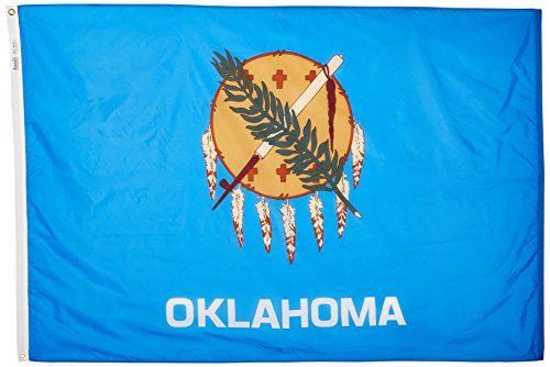 Oklahoma State Flag 4x6 ft. Nylon SolarGuard Nyl-Glo 100% Made in USA to Official State Design Specifications by Annin Flagmakers.  Model - Oklahoma 6