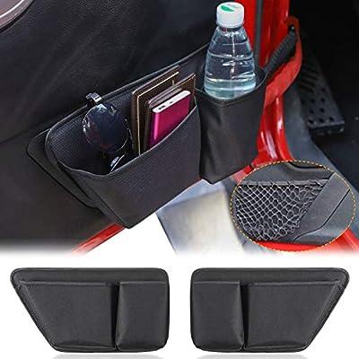 CheroCar Door Storage Bag Front Door Pockets Durable Oxford Storage Organizer for 2011-2020 Jeep Wrangler JK JKU 2/4 Door, Interior Accessories, 2 PCS: Automotive