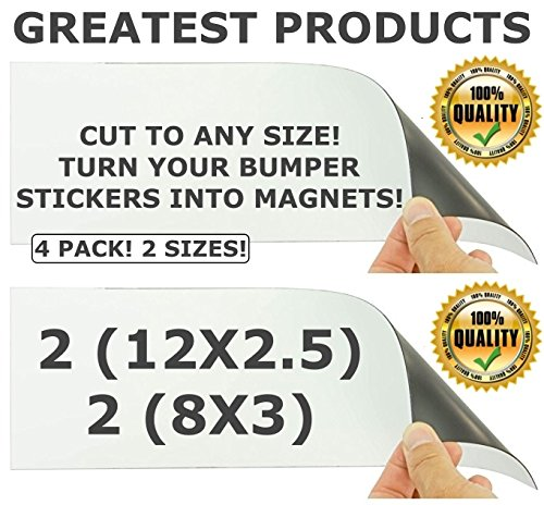 - GREATEST Cut-to-Size Bumper Sticker Magnetizer 4 Pack! Turn Any Decal Into a Strong Magnet. Durable & Weatherproof Magnetic Strip Protect Paint, No more mess, Easy Swaps. (12x2.5 & 8x3)