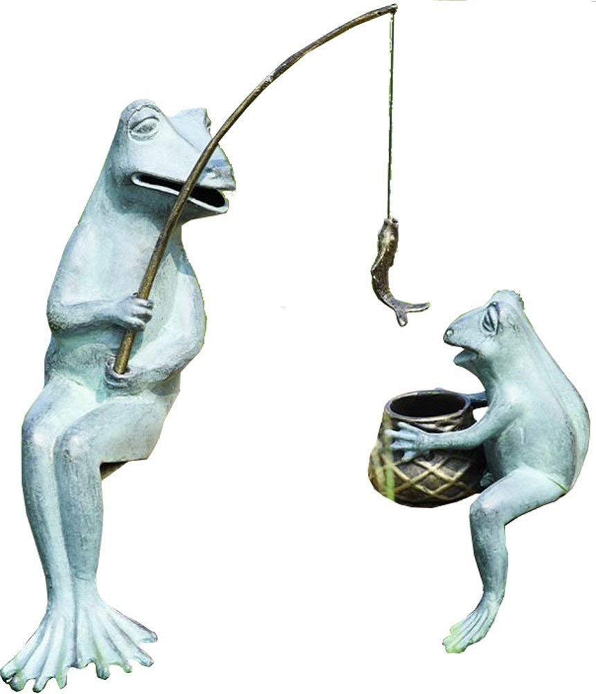 SPI Home 33671 Fishing Frog Mama and Baby Garden Sculpture