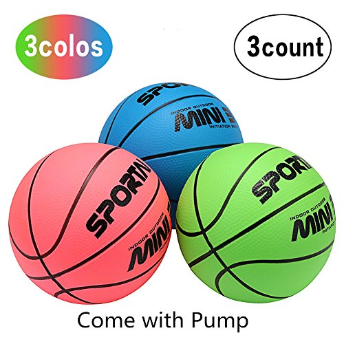 FunHut Basketball Small Light Mini Basketball Toy in Playground or Pool 3 Pcs Children's Toddler 5'' Basketball (blue&green&pink) with a Blue Pump