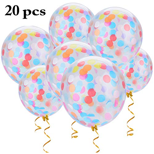 Confetti Balloons, Outgeek 20PCS 12 inch Large Confetti Balloons Transparent Balloons Latex Balloons with Star Confetti for Wedding Party Birthday Party Halloween Christmas Decorations ()