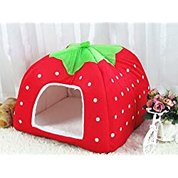 Zehui Pet Nest Dog Cat Bed Cave Kennel House with Cushion Lovely Cute Soft Warm Foldable Bright Red