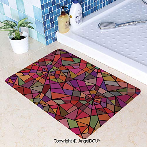 (SCOXIXI Absorbent Super Cozy Rectangle Kitchen Bathroom Carpet Mosaic Style Stained Glass Fractal Colorful Geometric Triangle Forms Artful Image Washable Porch Floor Mat Carpet.W19.6xL31.5(inch))