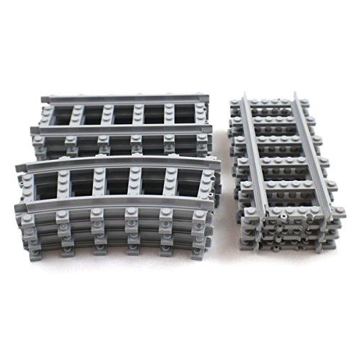 18X Straight Trains Rail Non-Powered Compatible For Lego Train Tracks Railroad