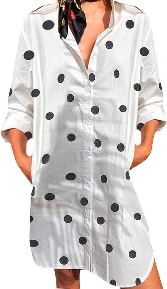 Mujer Sexy Casual Boho Dot Print botones Mini Oficina vestido de Club vestidos de verano tallas fuertes verano vestidos Casual Elegantes V-cuello camiseta larga vestido camisa Mini vestido Gonne Bianco S: Amazon.es:
